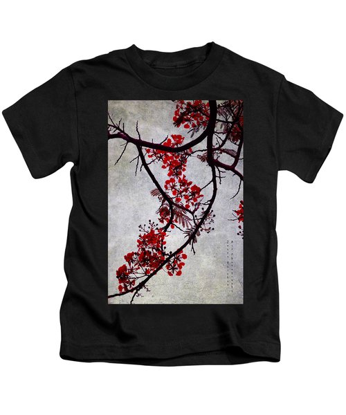 Spring Bloosom In Maldives. Flamboyant Tree II. Japanese Style Kids T-Shirt