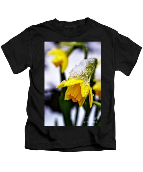 Spring Daffodil Flowers In Snow Kids T-Shirt