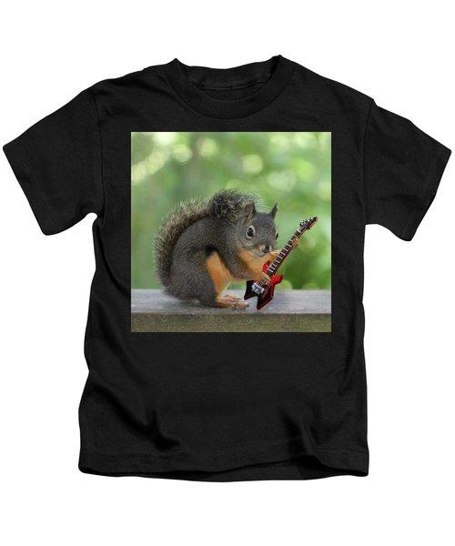 Squirrel Playing Electric Guitar Kids T-Shirt