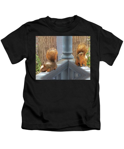 Squirrels Balancing On A Railing Kids T-Shirt
