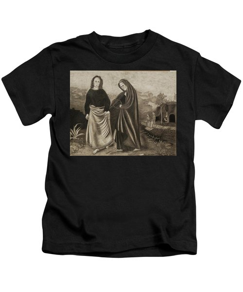 St. John And Blessed Mother At The Tomb Kids T-Shirt