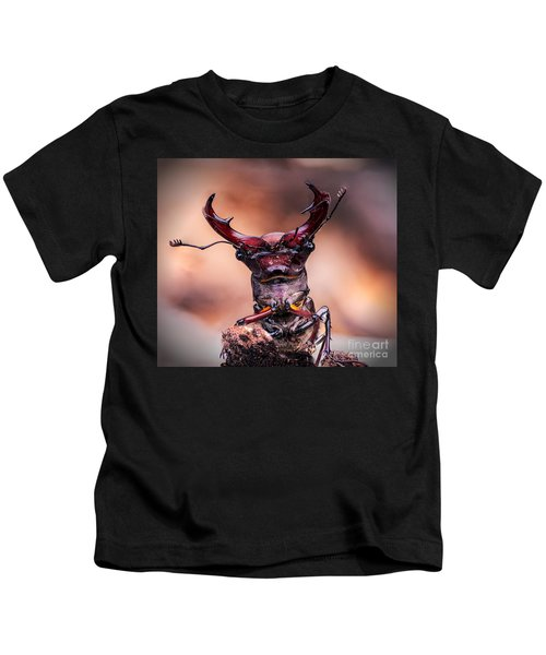 Stag Beetle Stare Down Kids T-Shirt