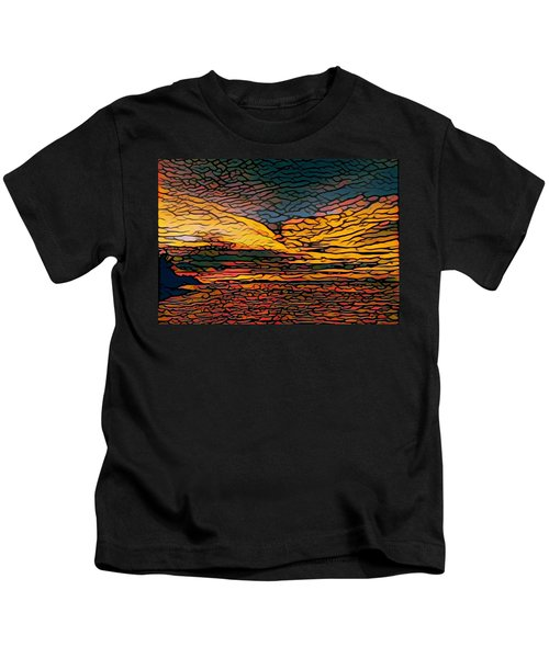 Stained Glass Sunset Kids T-Shirt