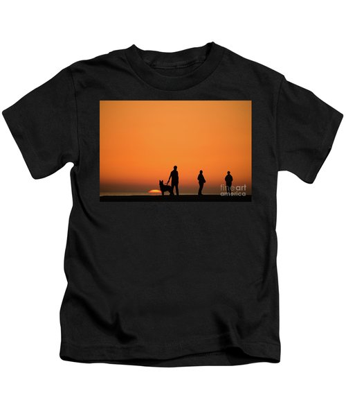 Standing At Sunset Kids T-Shirt