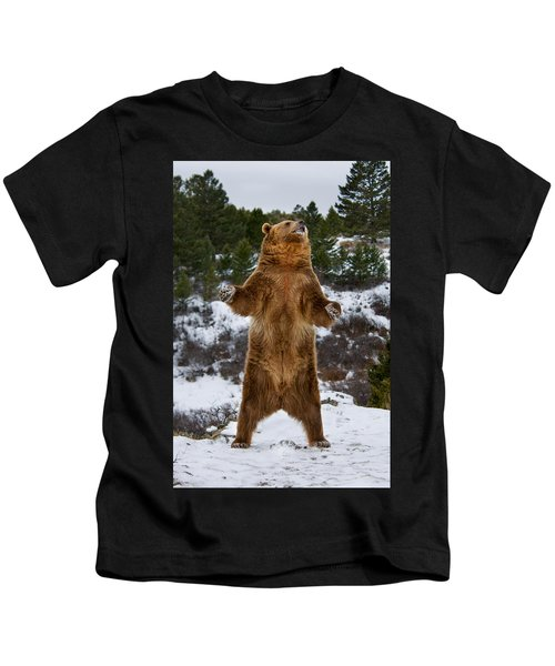 Standing Grizzly Bear Kids T-Shirt