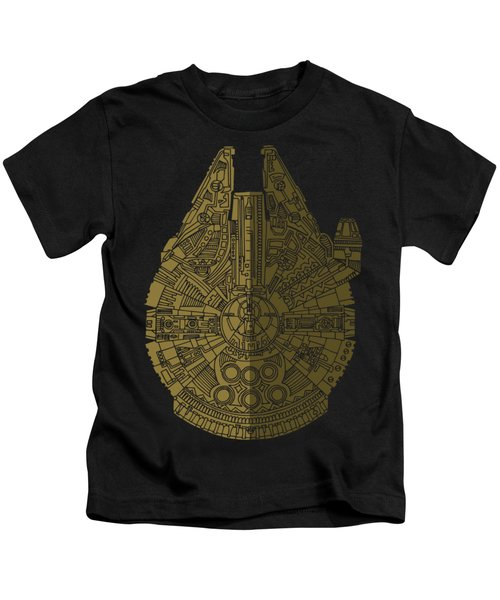 Star Wars Art - Millennium Falcon - Black, Brown Kids T-Shirt by Studio Grafiikka