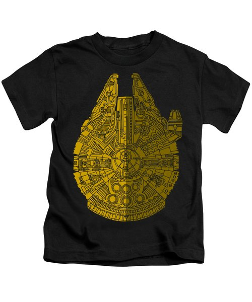 Star Wars Art - Millennium Falcon - Brown Kids T-Shirt by Studio Grafiikka