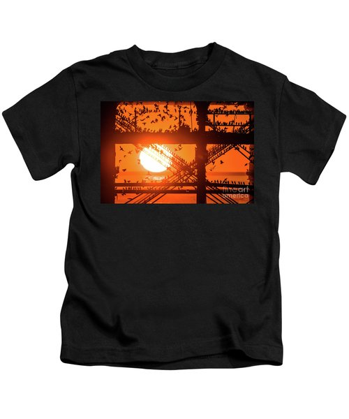 Starlings At Sunset Under Aberystwyth Pier Kids T-Shirt