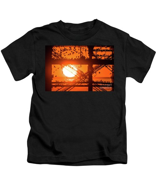 Starlings At Sunset Under Aberystwyth Pier Kids T-Shirt