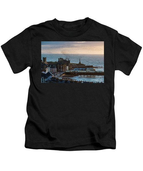 Starlings Over Aberystwyth On The West Wales Coast Kids T-Shirt