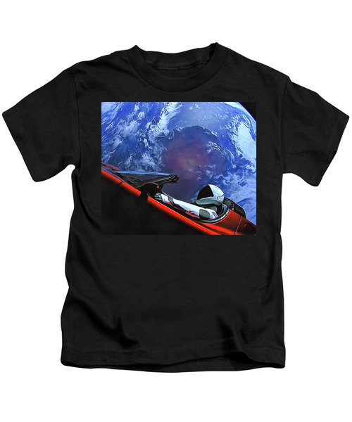 Starman In Tesla With Planet Earth Kids T-Shirt
