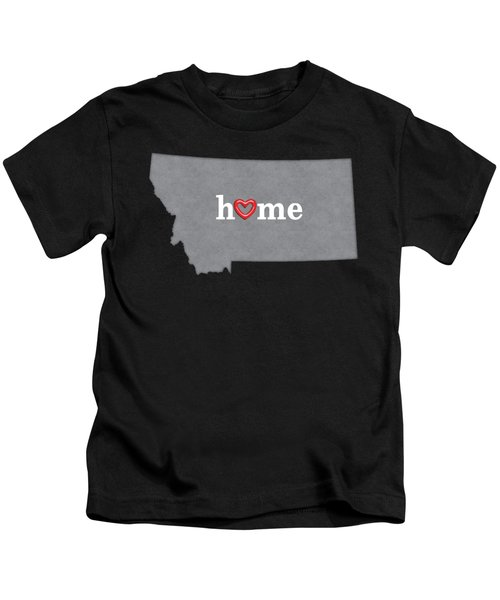 State Map Outline Montana With Heart In Home Kids T-Shirt