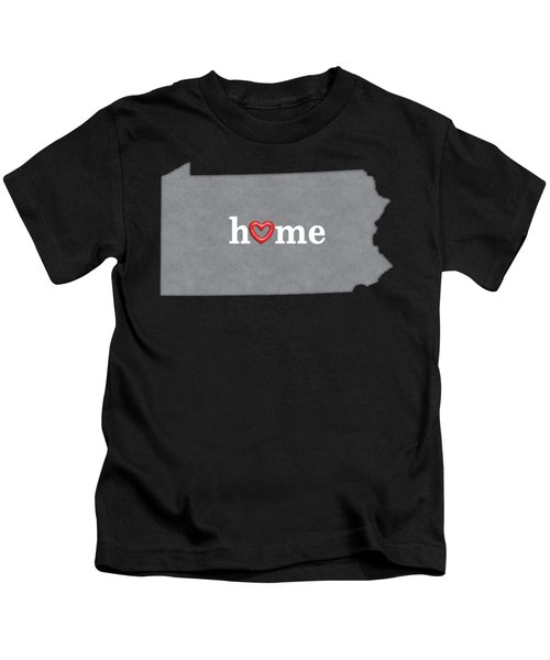 State Map Outline Pennsylvania With Heart In Home Kids T-Shirt