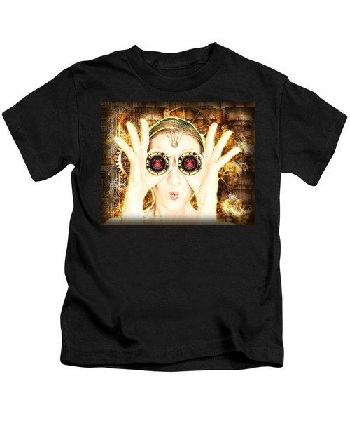 Steam Punk Lady With Bins Kids T-Shirt