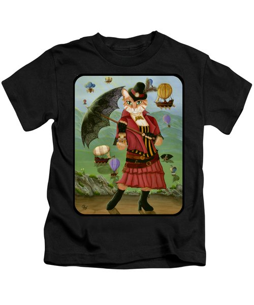 Steampunk Cat Gal - Victorian Cat Kids T-Shirt