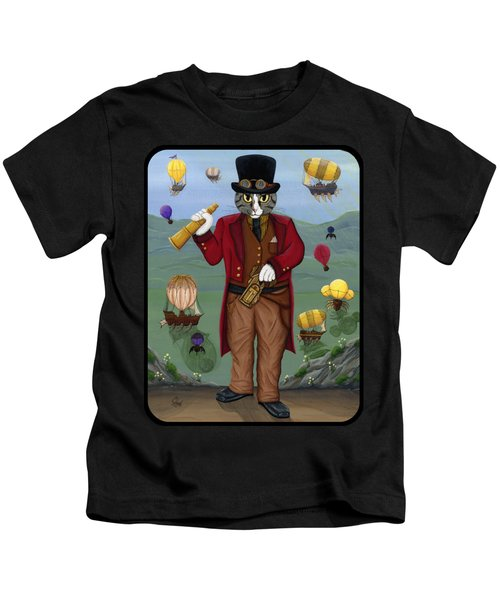Steampunk Cat Guy - Victorian Cat Kids T-Shirt
