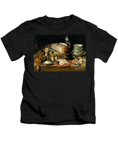 Still Life With A Sparrow Hawk Fowl Porcelain And Shells 1611 By Clara Peeters Kids T-Shirt