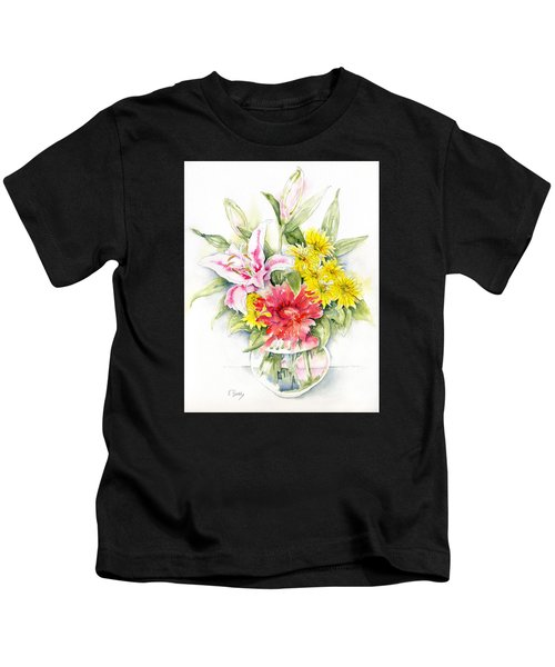 Still Life With Red Zinnia Kids T-Shirt