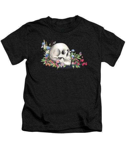 Still Life With Skull And Wildflowers Kids T-Shirt