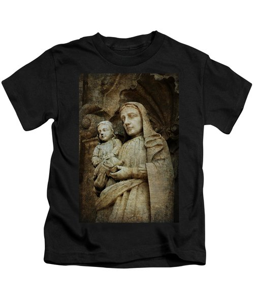 Stone Madonna And Child Kids T-Shirt