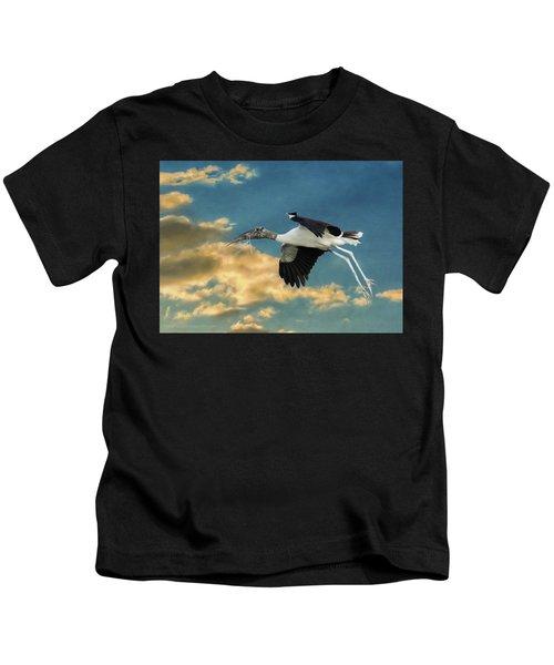 Stork Bringing Nesting Material Kids T-Shirt