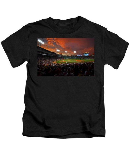 Storm Clouds Over Fenway Park Kids T-Shirt