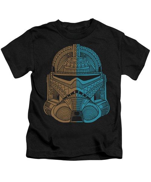 Stormtrooper Helmet - Star Wars Art - Brown Blue Kids T-Shirt