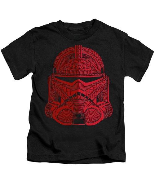 Stormtrooper Helmet - Star Wars Art - Red Kids T-Shirt