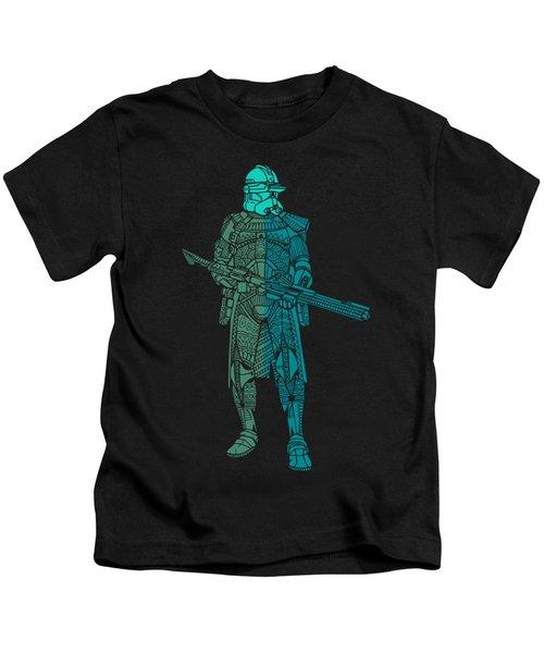 Stormtrooper Samurai - Star Wars Art - Blue, Navy, Teal Kids T-Shirt