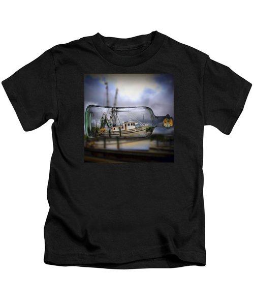Stormy Seas - Ship In A Bottle Kids T-Shirt