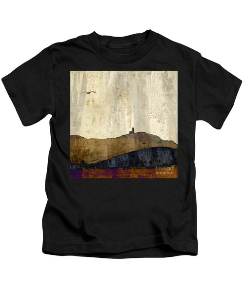 Strata With Lighthouse And Gull Kids T-Shirt
