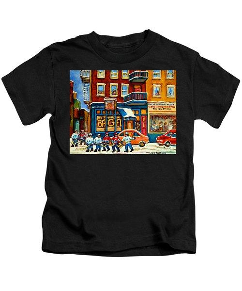 St.viateur Bagel Hockey Montreal Kids T-Shirt