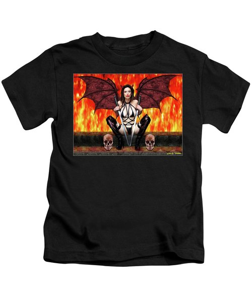 Succubus And Flames Kids T-Shirt