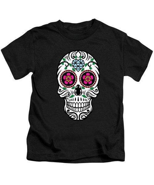 Sugar Skull Floral Skull Kids T-Shirt
