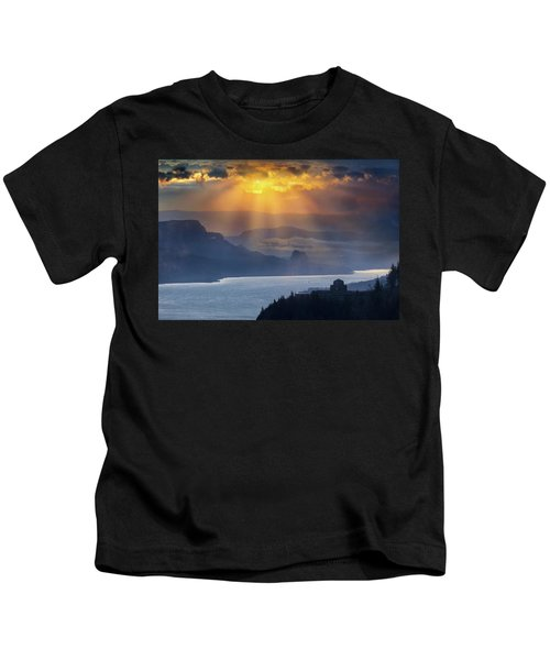 Sun Rays Over Columbia River Gorge During Sunrise Kids T-Shirt