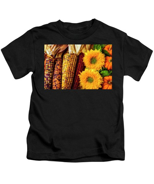 Sunflowers And Indian Corn Kids T-Shirt