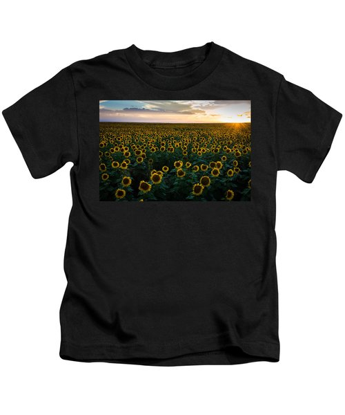 Sunflowers At Sunset Kids T-Shirt