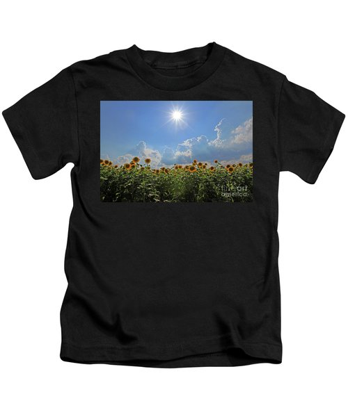 Sunflowers With Sun And Clouds 1 Kids T-Shirt
