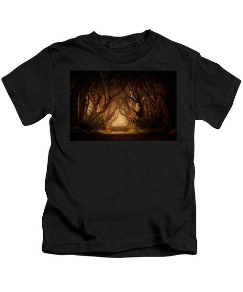 Sunny Morning In Dark Hedges Kids T-Shirt