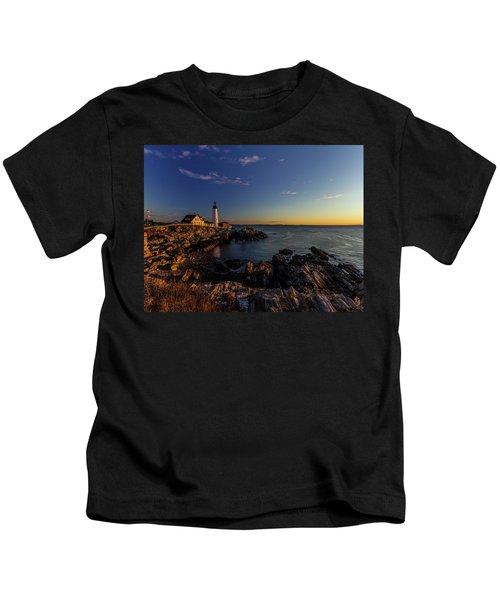 Sunrise At Portland Headlight Kids T-Shirt