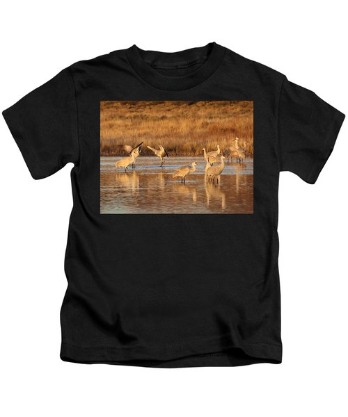 Sunrise At The Crane Pond Kids T-Shirt