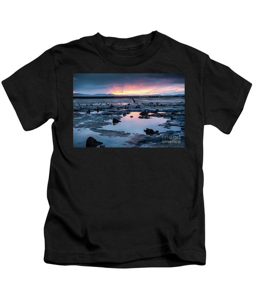 Sunrise Over The Bronze Age Sunken Forest At Borth On The West Wales Coast Uk Kids T-Shirt