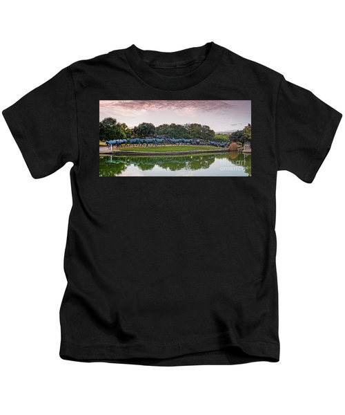 Sunrise Panorama Of Cattle Drive Sculpture At Pioneer Plaza - Downtown Dallas North Texas Kids T-Shirt