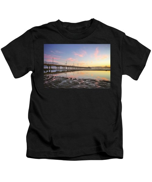 Sunrise Reflections At The Shorncliffe Pier Kids T-Shirt