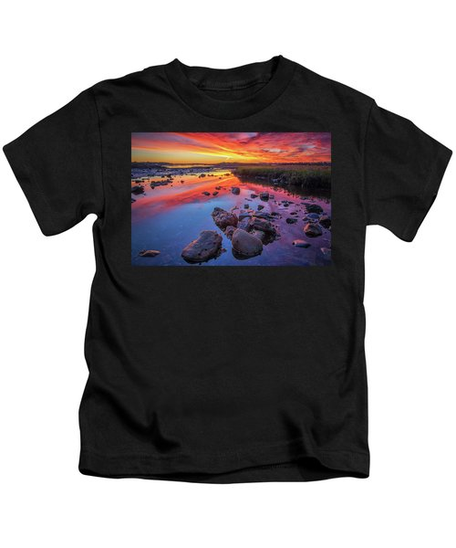 Sunrise Reflections In Harpswell Kids T-Shirt