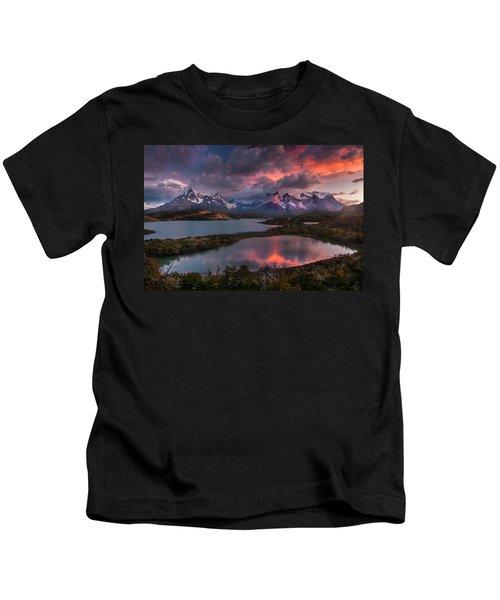 Sunrise Spectacular At Torres Del Paine. Kids T-Shirt