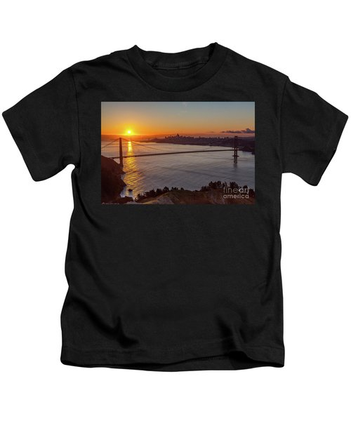 Sunrise Sunlight Hitting The Coastal Rock On The Shore Of The Go Kids T-Shirt