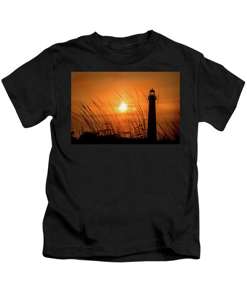 Sunset At Cm Lighthouse Kids T-Shirt