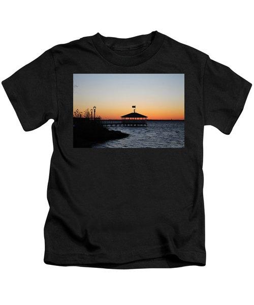 Sunset At Fagers Island Gazebo Kids T-Shirt