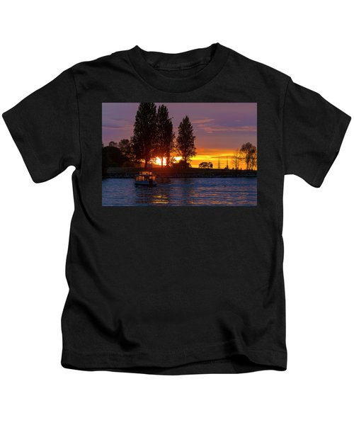 Sunset At Sunset Beach In Vancouver Bc Kids T-Shirt